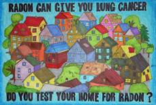 "Neighborhood of houses with text ""Radon can give you lung cancer"""