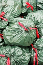Picture of stacks of trash bags